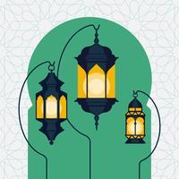 Ramadan lanterns on arabic doorway silhouette background vector