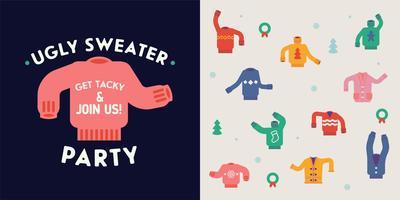 Elementos de diseño de fiesta de suéter feo
