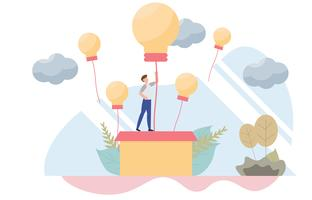 Businessman rising on bulb balloon concept with character.Creative flat design for web banner