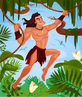 Vector Tarzan die op wijnstokken slingert