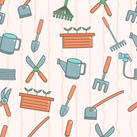Cute seamless pattern with gardening  vector