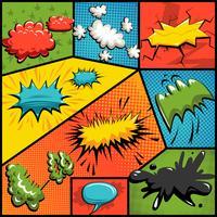 Vector set of comics explosion bubbles