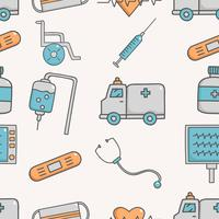 Cute seamless pattern with medical