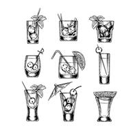 Set med vektor illustration stemware
