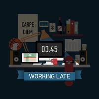 Working at night overtime vector
