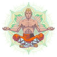 Vector yoga man in a lotus position.