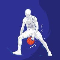 witte silhouet basketbal speler splash