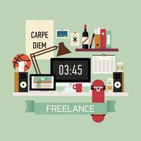 Freelancer werkplek scene