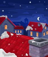 Vectorillustratie van huizen in de nacht