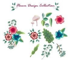 colección de elementos florales conjunto de iconos