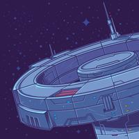 Vetorial, ilustração, de, um, estação espacial