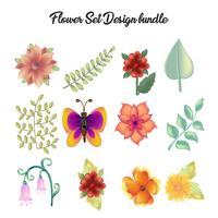 icona del fiore imposta insieme di elementi