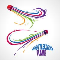 shuttlecocks rainbow flame  vector