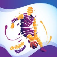 dribble splash basketball silhouette vector