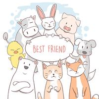 KAT, KOE, PUPPY, EEND, VARKENS, CHIPMUNK, KONIJN EN DE BEER FRIENDS
