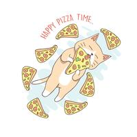CAT CUTE PIZZA FLY VECTOR