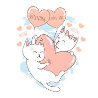 CAT AUTUMN AND VALENTINE LOVE VERY CUTE VECTOR