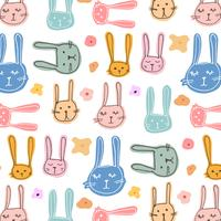 Cute Bunny Pattern Background. Vector Illustration.