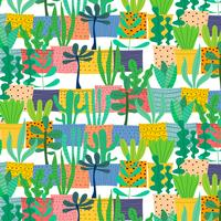 Hand Drawn Tropical Cactus Pattern. Vector Illustration Background.