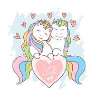 unicorn söt kärlek valentin vektor