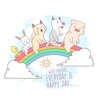 CAT, PIG, PUPPY, RABBIT AND DUCK FRIENDS  CUTE VECTOR