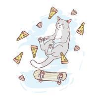 CAT CUTE SKATEBOARD AND PIZA VECTOR