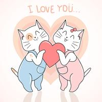 CAT AUTUMN AND VALENTINE LOVE CUTE VECTOR