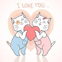 CAT AUTUMN AND VALENTINE LOVE CUTE VECTOR