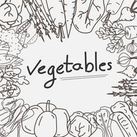 Hand Drawn Vegetables Doodles Background.