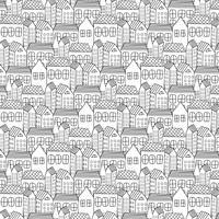 Handdragen mönster med stadsbakgrund. Vektor illustration.