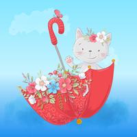 Cute cartoon cat in an umbrella with flowers, postcard print poster for a child s room. vector