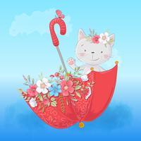 Niedliche Cartoonkatze in einem Regenschirm mit Blumen, Postkartendruckplakat für ein Kinderzimmer.