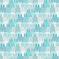 Hand gezeichneter netter Bunny Vector Pattern Background. Gekritzel lustig. Handgemachte Vektor-Illustration.