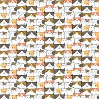 Hand Drawn Cute Cats Vector Pattern Background. Doodle Funny. Handmade Vector Illustration.