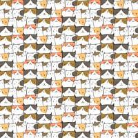 Hand getekende schattige katten Vector patroon achtergrond. Doodle grappig. Handgemaakte vectorillustratie.