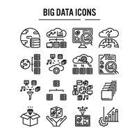 Conjunto de iconos de big data en el diseño de contorno