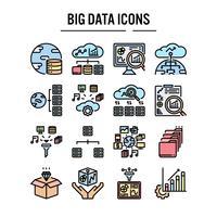 Conjunto de iconos de big data en el diseño de contorno lleno