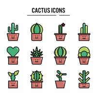 Cactus icon in outline set design