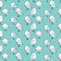 Hand Drawn Cute Bird Pattern Background. Vector Illustration.