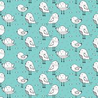 Hand Drawn Cute Bird Pattern Background. Vector Illustration.