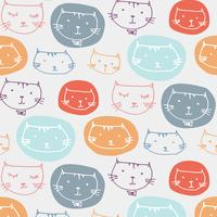 Hand Drawn Cute Cats Pattern. Illustration vectorielle