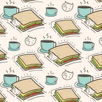 Netter Cat Sandwich And Coffee Pattern Background. Vektor-Illustration.
