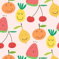 Cute Fruits Pattern Background. Vector Illustration.