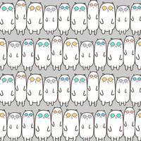 Cool Cats Vector de fond. Illustration vectorielle à la main.