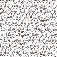 Bunny Doodle Art Pattern Background. Vector Illustration.
