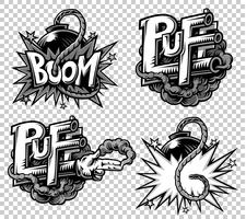 Vector set of monochrome comics icons