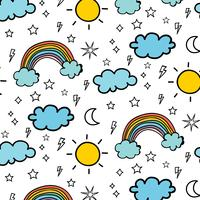 Weather Doodle Vector Pattern Background. Vector Illustration.