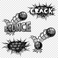 Conjunto de vetores de ícones de quadrinhos monocromáticos.