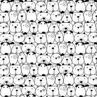 Hand Drawn Cute Dogs Pattern Background. Vector Illustration.