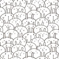 Cute Bunny Vector Pattern Background. Funny Doodle. Handmade Vector Illustration.